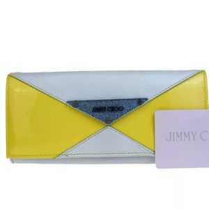 JIMMY CHOO Patent Leather Trifold Long Wallet